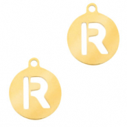 Stainless steel charms round 10mm initial coin R Gold
