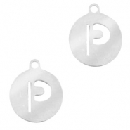 Stainless steel charms round 10mm initial coin P Silver