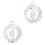 Stainless steel charms round 10mm initial coin O Silver