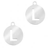 Stainless steel charms round 10mm initial coin L Silver