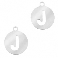 Stainless steel charms round 10mm initial coin J Silver