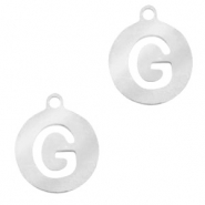 Stainless steel charms round 10mm initial coin G Silver