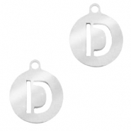 Stainless steel charms round 10mm initial coin D Silver