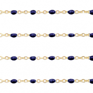 Stainless steel findings belcher chain 1mm Dark Blue-Gold