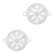 Stainless steel charms connector compass 12mm Silver