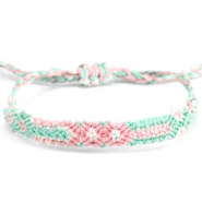Ready-made Bracelets/Anklets Brazilian style| One size fits all| Economy pack Pastel Green-Pink