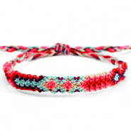 Ready-made Bracelets/Anklets Brazilian style| One size fits all Multicolour Red-Fluor Pink