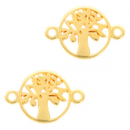 DQ European metal charms connector tree round 12mm Gold (nickel free)