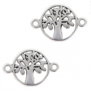 DQ European metal charms connector tree round 12mm Antique Silver (nickel free)
