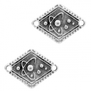DQ European metal charms connector planet rhombus Antique Silver (nickel free)