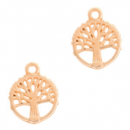 DQ European metal charms tree round 10mm Rose Gold (nickel free)