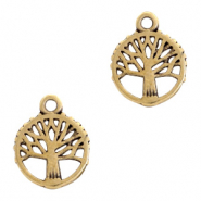 DQ European metal charms tree round 10mm Antique Bronze  (nickel free)