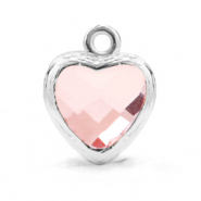 Crystal glass charms heart Light Pink-Silver