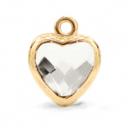 Crystal glass charms heart Crystal-Gold