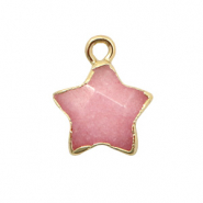 Natural stone charms star Burnt Coral Pink-Gold