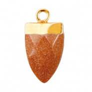 Natural stone charms tooth Sugar Almond Brown Glitter-Gold