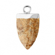 Natural stone charms tooth Porcini Brown-Silver
