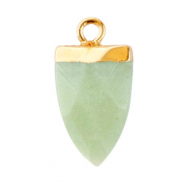 Natural stone charms tooth Ocean Green-Gold