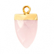 Natural stone charms tooth Icy Pink-Gold