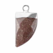Natural stone charms tooth Hawthorn Rose-Silver