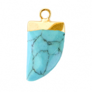 Natural stone charms tooth Turquoise Green-Gold