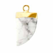 Natural stone charms tooth Marble White-Gold