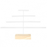 Jewellery display pyramide with wooden standard White-Natural