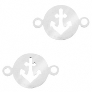 Stainless steel charms connector anchor Silver