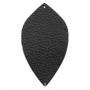 Faux leather pendants leaf large Black