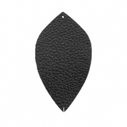 Faux leather pendants leaf small Black