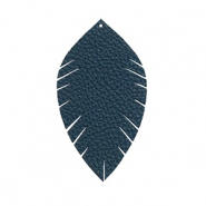 Faux leather pendants leaf small Dark Blue