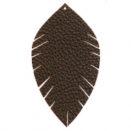 Faux leather pendants leaf large Dark Chocolate Brown