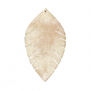 Faux leather pendants leaf small Vintage Champagne Beige