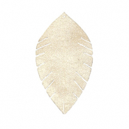 Faux leather pendants leaf small Semoline Beige