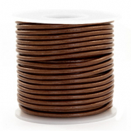 DQ leather round 3 mm Pecan Brown Metallic