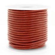DQ leather round 3 mm Red Ochre Brown