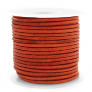 DQ leather round 3 mm Vintage Fired Orange