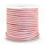 DQ leather round 3 mm Powder Pink Metallic