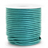 DQ leather round 3 mm Tiffany Blue Metallic