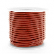 DQ leather round 2 mm Red Ochre Brown