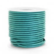 DQ leather round 2 mm Tiffany Blue Metallic