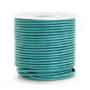 DQ leather round 1 mm Tiffany Blue Metallic