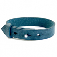 15mm leather Cuoio bracelets for 20mm cabochon Blue Wing Teal