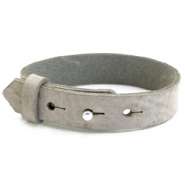 15mm leather Cuoio bracelets for 20mm cabochon Neutral Grey
