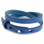 Cuoio bracelets leather 8mm double for 12mm cabochon Victoria Blue