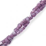 Top faceted beads cube 2x2mm Acai Purple Opal-Pearl Shine Coating