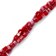 Top faceted beads cube 2x2mm Red Dahlia-High Shine Coating
