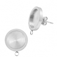 Polaris Steel earrings with setting for 12mm cabochon (with loop) Silver