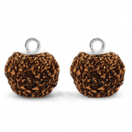 Pompom charms with loop glitter 12mm Dark Brown-Silver