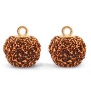 Pompom charms with loop glitter 12mm Rust Brown-Gold